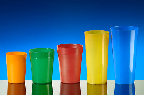Reusable cups, coloured