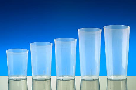 Reusable cups transparent